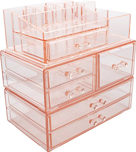 Sorbus Acrylic Cosmetics Makeup and Jewelry Storage Case Display Sets -Interlocking Drawers to Create Your Own Specially Designed Makeup Counter -Stackable and Interchangeable ()