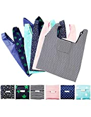 MAXGOODS 6 Pieces Reusable Grocery Bag Foldable Washable Shopping Tote Bag Extra Large Waterproof Storage Bag Eco-Friendly Reusable Gift Bag with Attached Pouch for Kitchen Shopping
