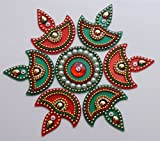 Acrylic Diya Rangoli (small) (7 pcs) Red and Green