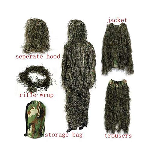 WEIFAN Adults Military 3D Camouflage Sniper Ghillie Suit Includes Rifle Wrap & Carry Bag(Desert Camouflage)