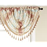 Renaissance Home Fashion Fairview Emberline Stripe Valance, Coral, 47 by 38-Inch