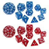 MagiDeal 20pc Polyhedral Playing Game Digital Dice Die for D&D TRPG RPG Board Games