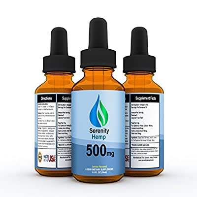 Serenity Hemp Oil - 1 fl oz 500 mg - Certified Organic - Relief for Stress, Inflammation, Pain, Sleep, Anxiety, Depression, Nausea - rich in Vitamin E, Vitamin B, Omega 3,6,9 and MORE!