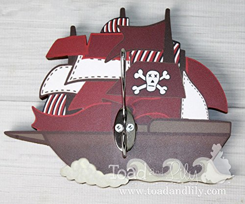 Pirate Ship Sail boat Boys Clothes Peg Rack Clothing Rack, Hat Holder Kids Bedroom Nursery Mudroom Playroom WH0033 (Rack Sailboat)