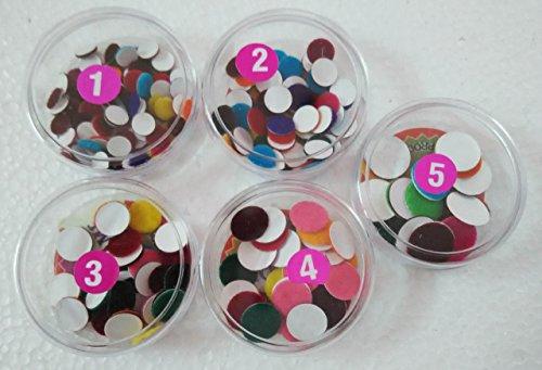 (Set of 5 IndiaTraditional Multi Colour Color Forehead Round Bindi Tatto Tikka With Box #8)
