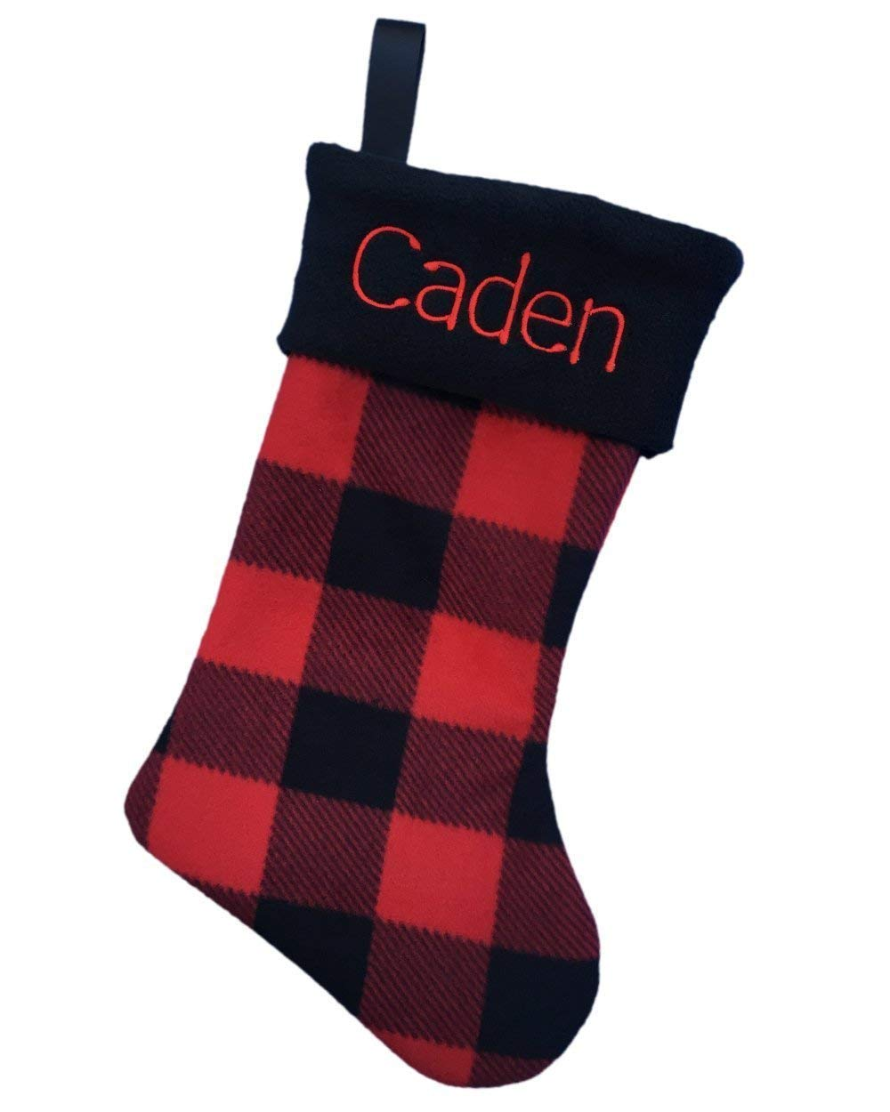 Personalized Christmas Stocking Custom Embroidered Name, Red Buffalo Check