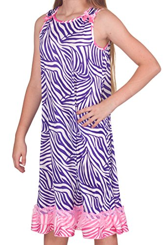 Laura Dare Slumber Party Zebra Bow Top Gown, Pink Purple Size 18m