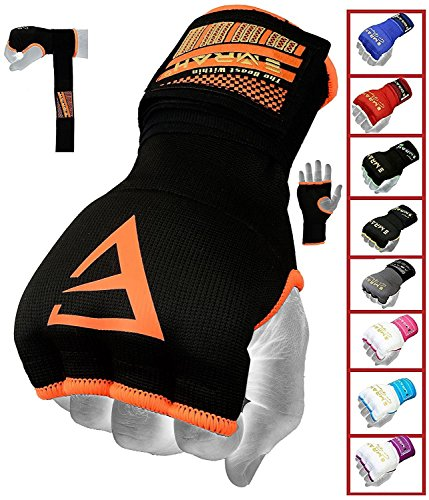 EMRAH PRO Training Boxing Inner Gloves Hand Wraps MMA Fist Protector Bandages Mitts - X (Orange, Large)