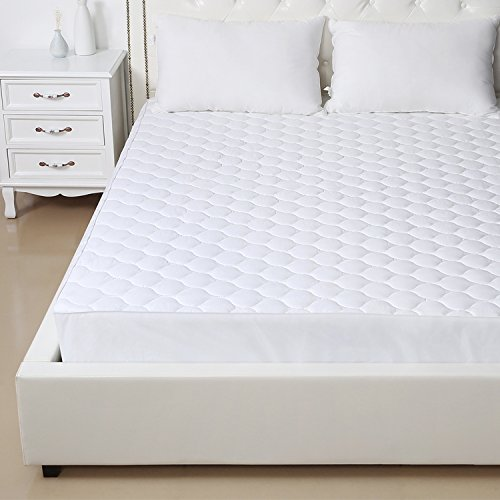 Homfy Quilted Mattress Pad Queen Cotton Mattress Cover With Deep Pocket 18 Breathable Hypoallergenic And Machine Washable White Queen