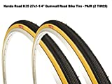 27 x 1-1/4'' Road Bicycle Tire Set, Wire Bead, Gumwall Sidewall - Pair (2 Tires)