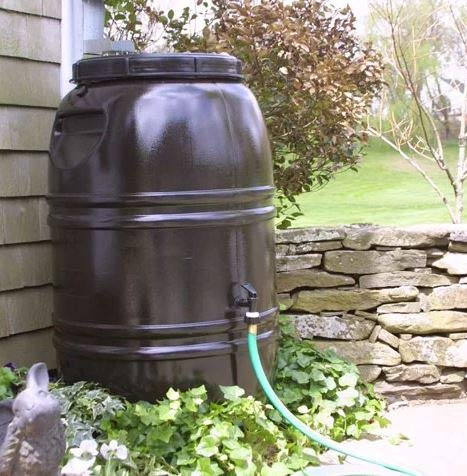 Bright Outdoors- Rain Barrel-Rain Water Catcher- Brown Polyethylene Plastic 60 Gallon Capacity with Spigot and Removable Lid - Reinventing The Way You Save Rain Water