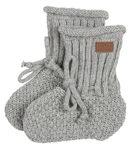 Melton Unisex Baby Lambfur Wool Booties, Light Grey, 6-12 Months
