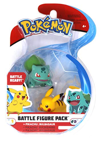 Pokmon 2 Inch Battle Action Figure 2 Pack, Pikachu and Bulbasaur