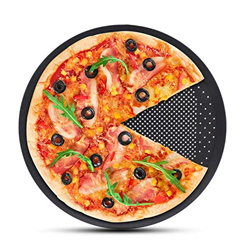Pizza Baking Sheet, Segarty 15 inch Round Pizza Pan with Holes, Perforated Pizza Crisper Cooking Pan, Steel Pizza Tray for Oven, Kitchen Bakeware Tools for Home & Restaurant