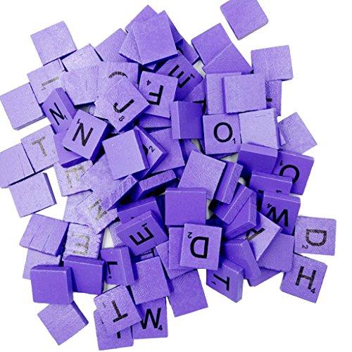 Jiliオンライン100ピース木製大文字パズルタイルブロック装飾子供教育おもちゃクラフトパープルの商品画像