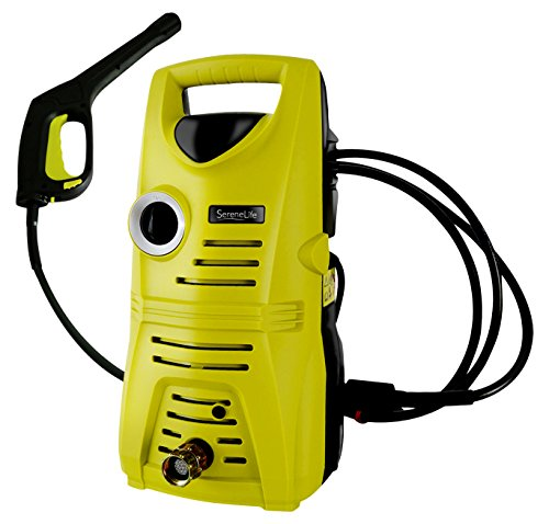 Yellow pressure washer operated by electricity.