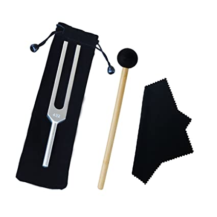 Mr  Sleeply Tuning Fork 432 Hz, Non-Magnetic Aluminum Alloy Tuning Fork for  Violin Piano Guitar with Mallet & Cleaning Cloth Bag Healing Tuned Tuning
