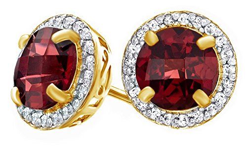 7.0mm Red Simulated Garnet & White Topaz CZ Frame Stud Earrings In 14K Yellow Gold Over Sterling Silver -