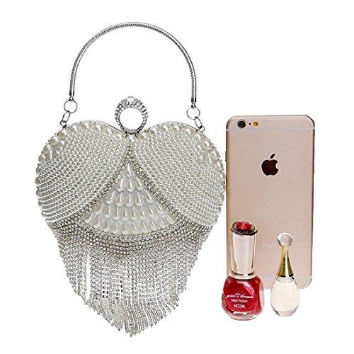 Clutch Bag Handbag Silver Color Gold Women's Evening KERVINFENDRIYUN Crossbody Bride Heart Wedding Purse wzqWYT6