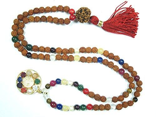 Yoga Gift Idea- Rudraksha Navgraha Rosary Mala Prayer Bead Meditation Necklace Bracelet