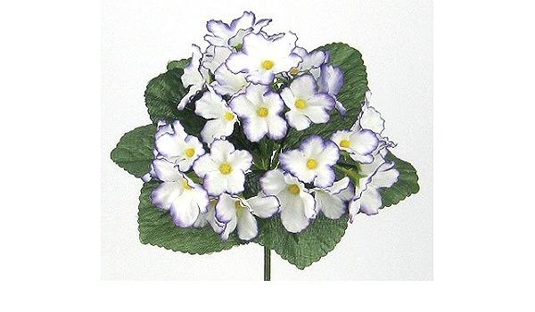Usi Floral Inc Artificial Silk African Violet Bush White Purple Violets Kitchen Dining