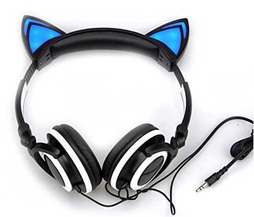 LED Cat Ear Headphones Black -