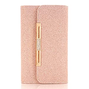 iphone 7 Plus Case,SUNWAY Pink Crystal PU Leather 7 Card Slots Wallet Case Handbag with Detachable Magnetic Back Case & Metal Chain for iphone 7 Plus - Pink