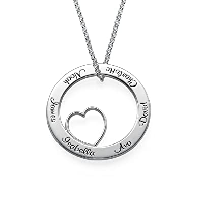 Love family circle pendant sterling silver engraved necklace love family circle pendant sterling silver engraved necklace personalised necklace for mothers day aloadofball Choice Image