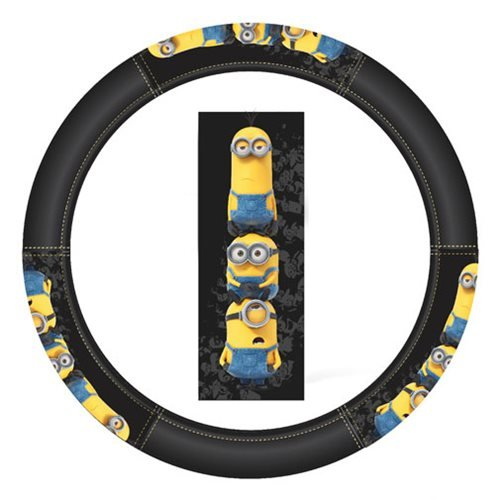 Minions Stacked Steering Wheel Cover - Car Truck SUV & Van, Performance Speed Grip, Universal Size Fit 14.5-15.5, Auto Interior Accessories - by Infinity Stock