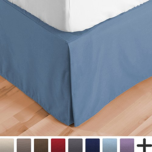 Bed Skirt Double Brushed Premium Microfiber, 15-Inch Tailored Drop Pleated Dust Ruffle, 1800 Ultra-Soft, Shrink and Fade Resistant (Queen, Coronet (Drop Blue Dust)