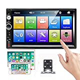 Camecho 2 Din Car Stereo 7'' HD Touch Screen MP5 Player Bluetooth FM Radio Support iOS/Android Phone Mirror Link with AUX/Dual USB/SD/DVR Input + Rear View Camera & Steering Wheel Control