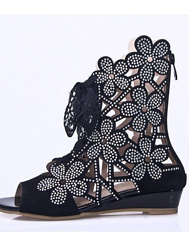 ShangYi Women's Shoes Leather Wedge Heel Wedges/Peep Toe Sandals Wedding/Party & Evening/Dress Black Black 3ds5hk0