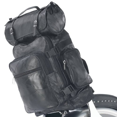 (3 piece Rock Design Genuine Buffalo Leather Motorcycle Bag Set)