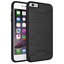 iPhone 6S Plus Case, iPhone6 Plus Cases, XinSop Business Impact Resistant Hard Protective Shell Hidden Credit Card Slots Holder Wallet Case Cover for Apple iPhone 6 Plus / 6S Plus - Black
