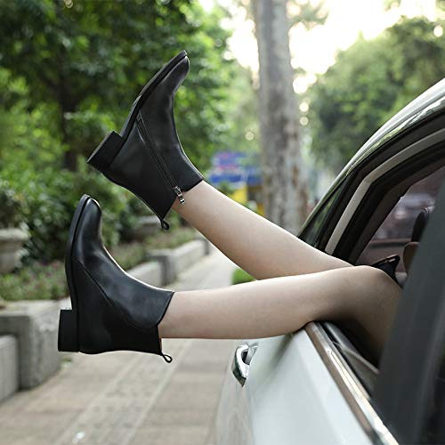 Flat Black2 Ronde Martin Chaudes Tête Bottes Plus Femme Velours Bottines Chelsea Chaussures twP4I