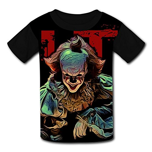 Custom Halloween Pennywise Boys Girls Teenager Tee Shirt Children Youth T-Shirts Black ()