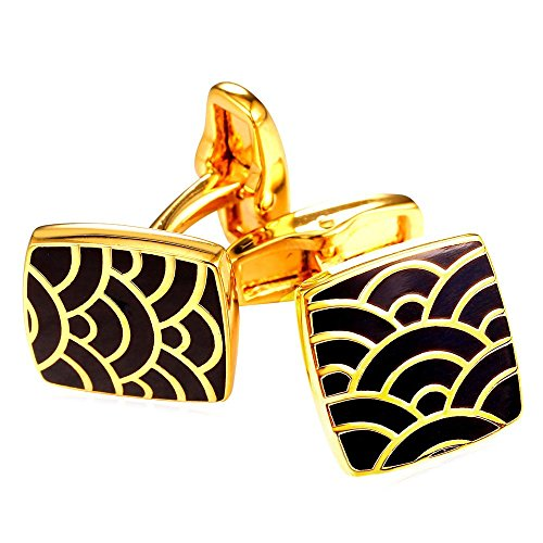 U7 Men's Cool Sea Wave Line Black Enamel Square Cufflinks 1 Pair 18K Gold Plated Shirt Studs Cuff Links (Cufflinks Pair Square)