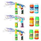 aa gun - Theefun TG01 3-Pack Bubble Gun Shooter Blower Machine with LED Lights,6 Bottles Refill,9pcs AA Batteries