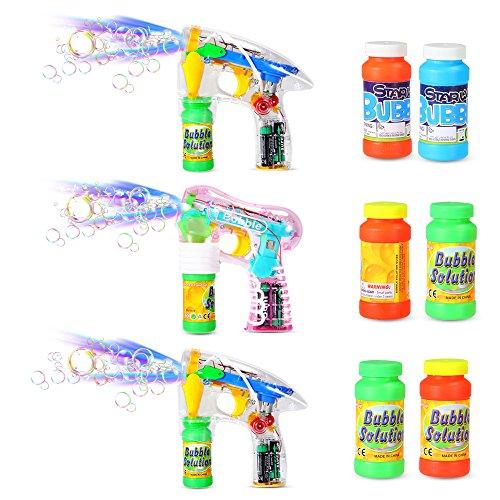 Theefun TG01 3-Pack Bubble Gun Shooter Blower Machine with LED Lights,6 Bottles Refill,9pcs AA ()
