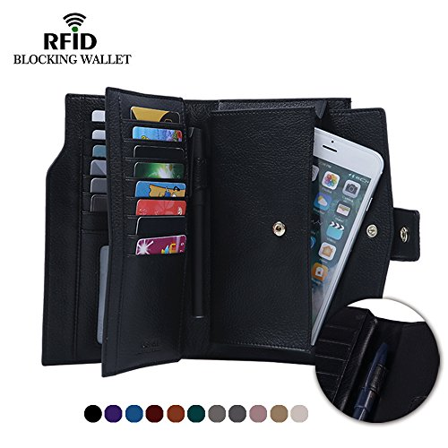Befen Women's RFID Blocking Luxury Full Grain Genuine Leather Bifold Trifold Wallet Multi Card Organizer Holders for Ladies (Black RFID Wallet Large)