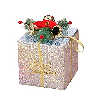 remeehi christmas gift boxs decorations christmas showcase decorative present boxes with bell ornaments 10cm