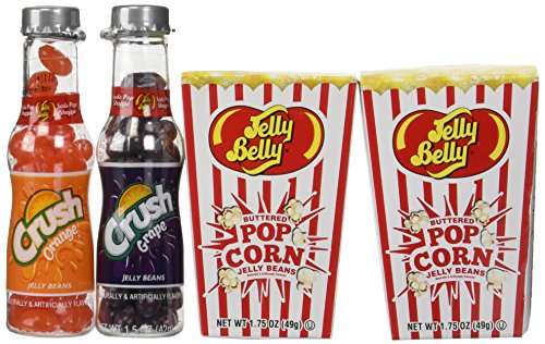 Jelly Belly Buttered Popcorn Set TWO Boxes Jelly Belly Buttered Popcorn & TWO Bottles Soda Pop Shoppe Jelly Beans (Jelly Belly Bean Factory)