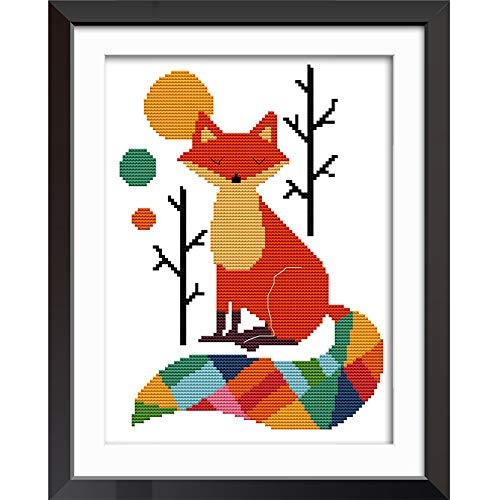 Joy Sunday Cross Stitch Kits 11CT Stamped Seven Color Fox 11″x15″ or 28cmx38cm Easy Patterns Embroidery for Girls Crafts DMC Cross-Stitch Supplies Needlework Animal Series