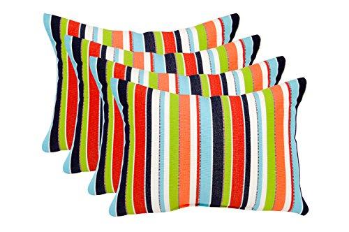 RSH DECOR Set of 4 Indoor/Outdoor Decorative Lumbar/Rectangle Pillows - Sunbrella Carousel Confetti - Lime Green, Melon, White, Red, Teal, Cancun