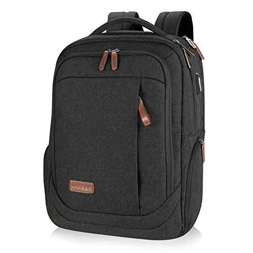 KROSER School Laptop Backpack Large Travel Computer Backpack for 15.6-17.3 Inch Laptop with USB Charging Port Water-Repellent Casual Daypack for Business/College/Women/Men-Charcoal Black