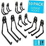 SMARTOLOGY Garage Utility Storage Hooks - 10 Pack Heavy Duty Multi-Tool Hangers for Home and Garage Organization - Wall Mount Anti-Slip Double Hooks for Ski, Snowboard, Kayak, Ladders & More