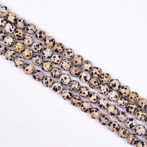 Jasper Round Beads - Asingeloo Dalmation Spot Jasper Natural Stone Gemstone Loose Round Beads 15.7 Inch 6mm Crystal Energy Stone Healing Power for Jewelry Making