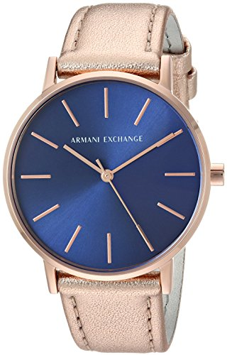 Armani Exchange Women's Rose Gold Leather Watch AX5547