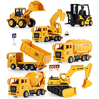 Mini Construction Trucks, GEYIIE Construction Vehicles Site for kids Engineering Toys Playset for Boys, Pull Back Cars Excavator Digger Tractor Bulldozer Dump Cement, Early Educational Toys Gift