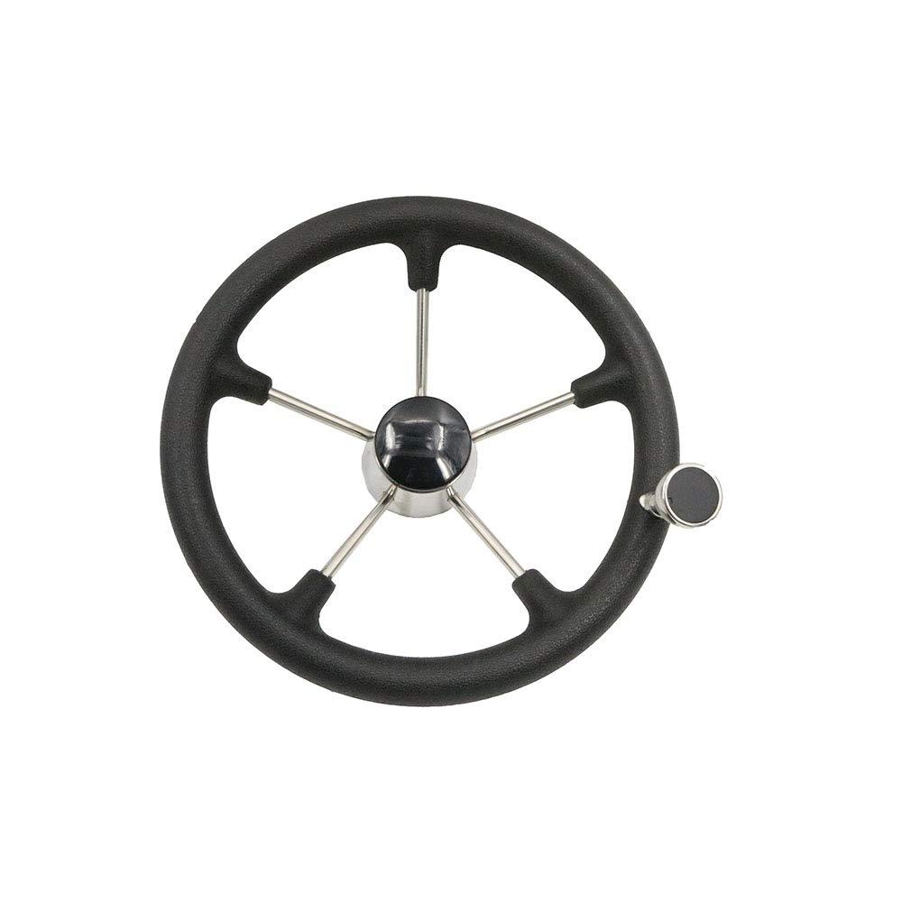 East Kay Stainless Steel 5 Spoke Marine Steering Wheel with Black PU Foam 13.5'' with knob by East Kay